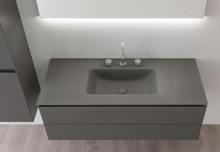 Manhattan vanity unit, Antracite finish, glass washbasin, Vivian mirror