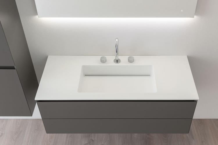 Manhattan vanity unit, Antracite finish, corian washbasin, Vivian mirror