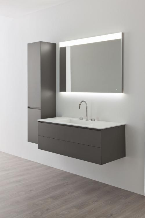 Manhattan vanity unit and tall unit, Antracite finish, corian washbasin, Vivian mirror