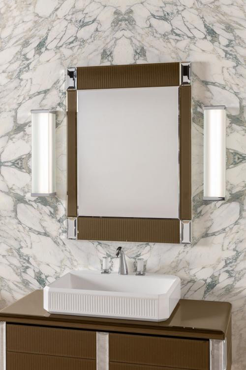 Rialto vanity unit, ribbed Gianduia glass, mirror, Murano 3 wall lamp