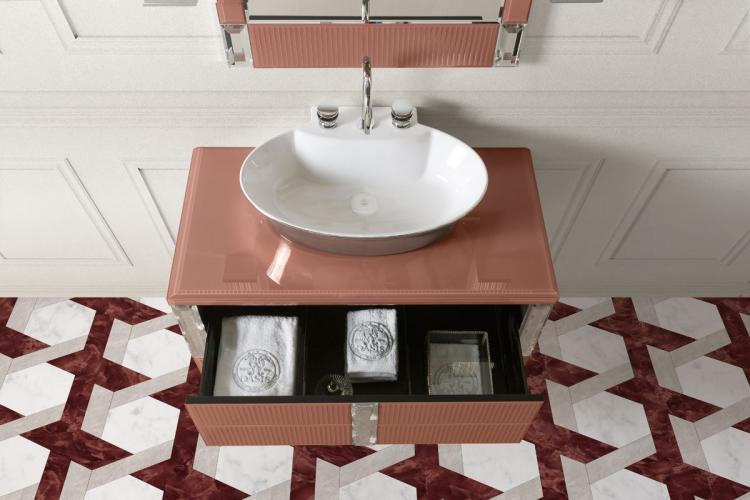 Rialto vanity unit, ribbed Marsala glass, mirror, Calla washbasin, Charlotte faucet