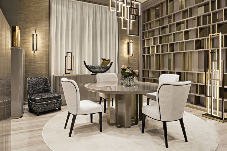 Blissful geometries dining room with Saint-Germain table and Francis chairs.
