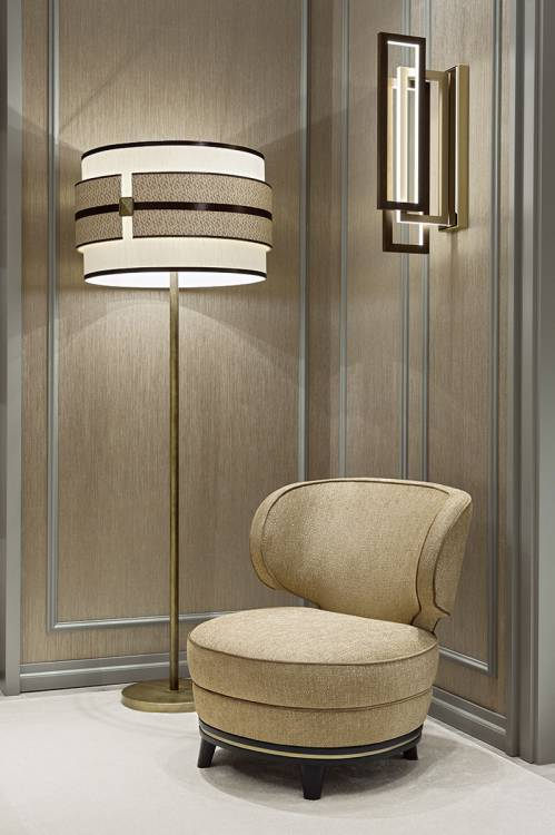 Nights in champagne satin with Tamburo lighting collection.