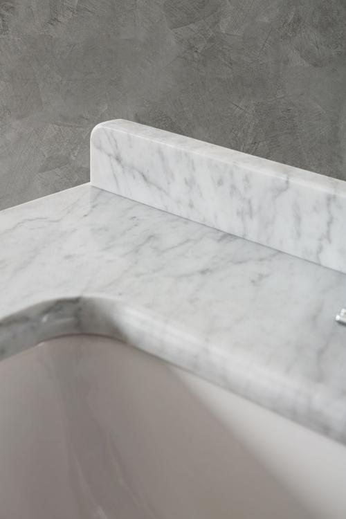Riviere vanity unit, Bianco finish, Bianco Statuario marble top, backsplash