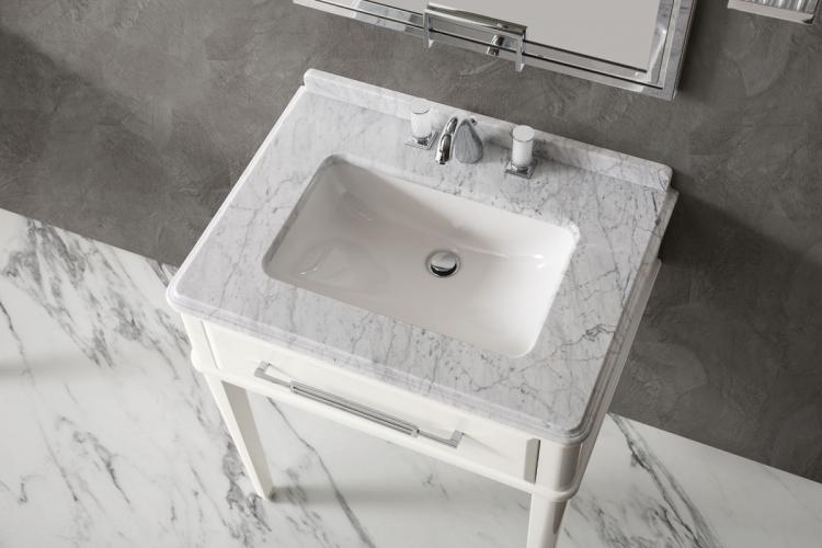 Riviere vanity unit, Bianco finish, Bianco Statuario marble top, chrome details