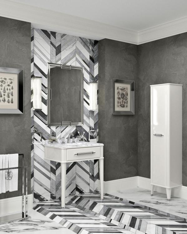 Riviere vanity unit, Bianco finish, Bianco Statuario marble top, tall unit