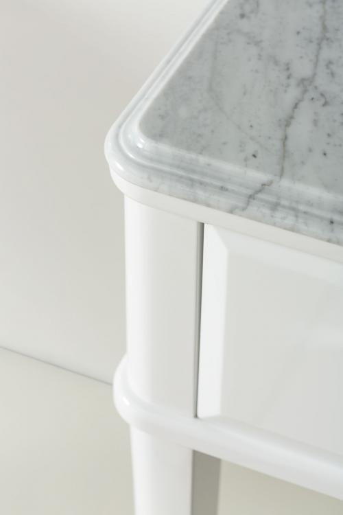 Riviere vanity unit, Bianco finish, Bianco Statuario marble top, Fortuny faucet