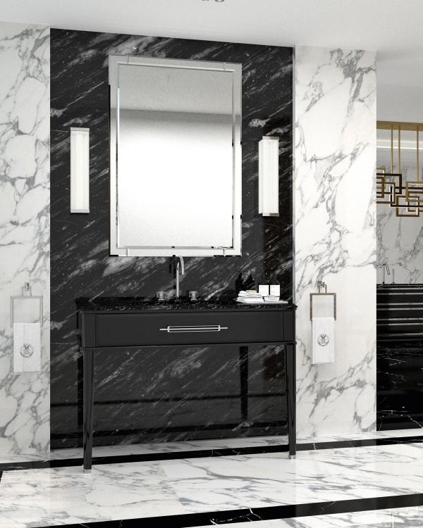Riviere vanity unit, Black finish, Nero Assoluto marble top, chrome details