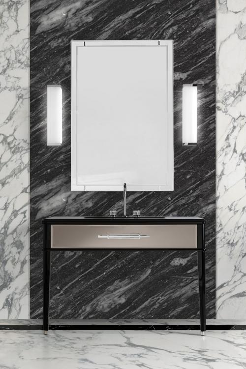 Riviere vanity unit, Black finish, bronze mirror, Nero Assoluto marble top, chrome details