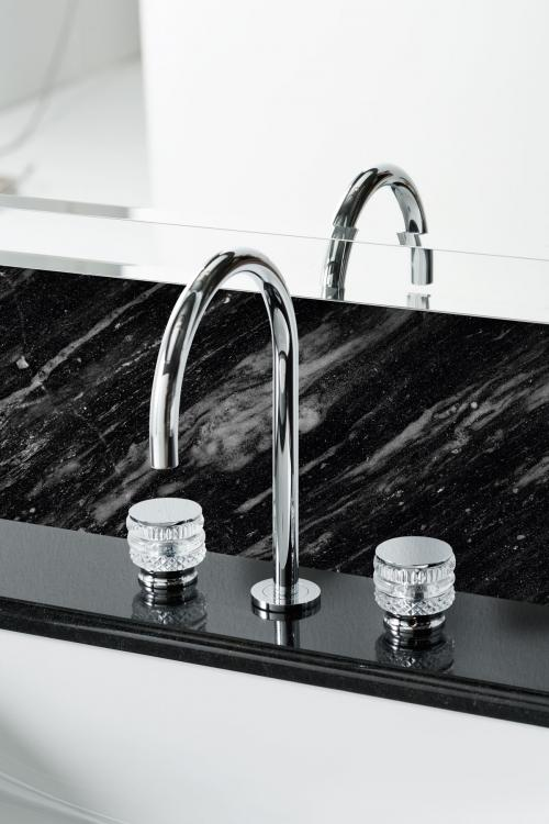 Riviere vanity unit, Black finish, Nero Assoluto marble top, Charlotte faucet