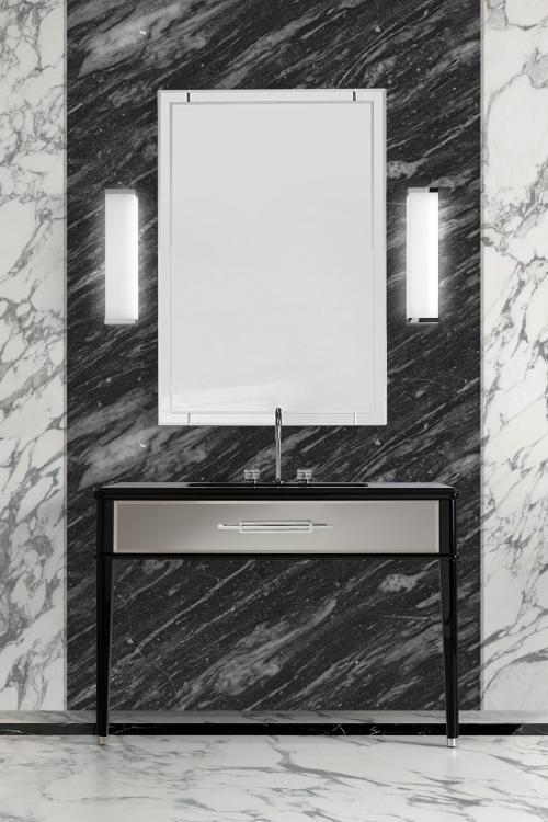 Riviere vanity unit, Black finish, smoke mirror, Nero Assoluto marble top, chrome details