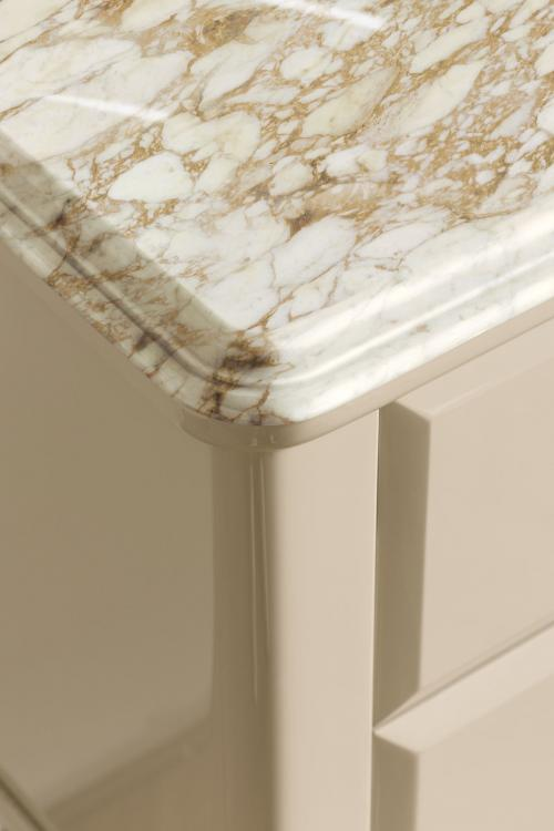 Riviere vanity unit, Lino finish, Calacatta Oro marble top, gold details