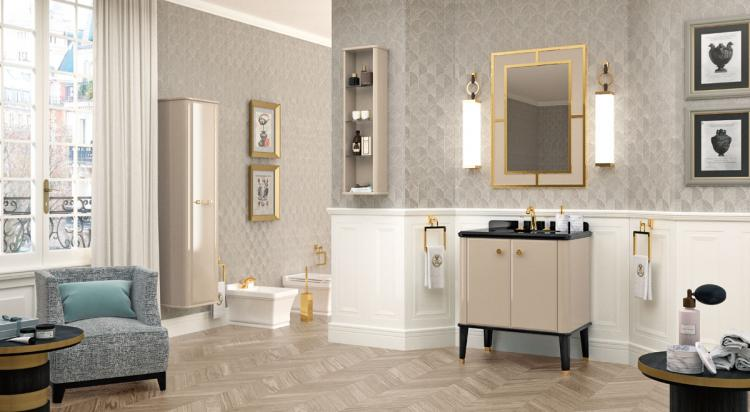 Riviere vanity unit, Lino finish, Nero Assoluto marble top, Casablanca mirror, gold details