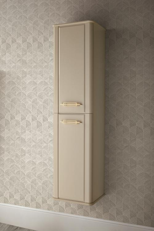 Riviere tall unit, Lino finish, gold metal details