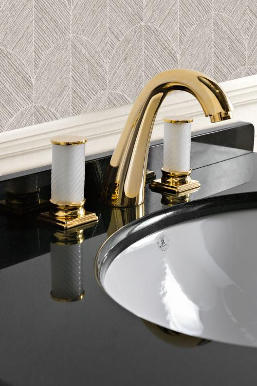 Riviere vanity unit, Lino finish, Nero Assoluto marble top, Fortuny faucet