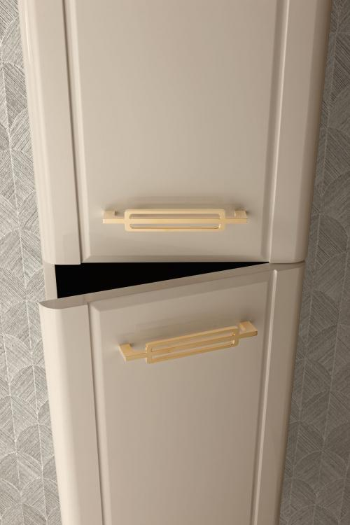 Riviere tall unit, Lino finish, gold metal handles