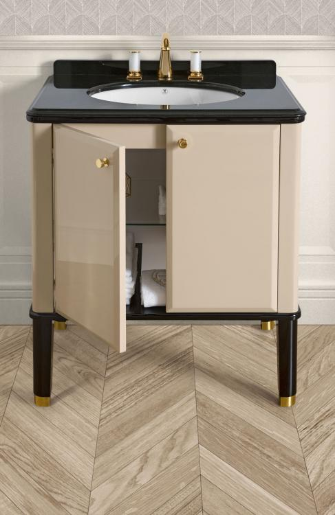 Riviere vanity unit, Lino finish, Nero Assoluto marble top, gold details