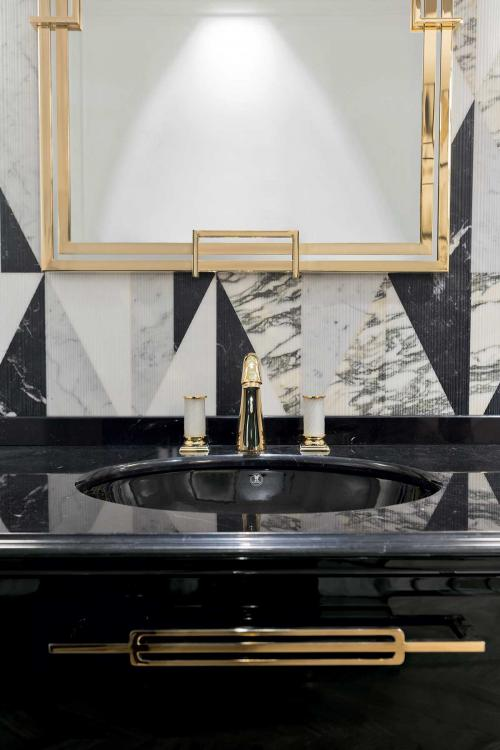 Riviere vanity unit, Nero Marquinia marble top, Fortuny facuet, Valentino mirror