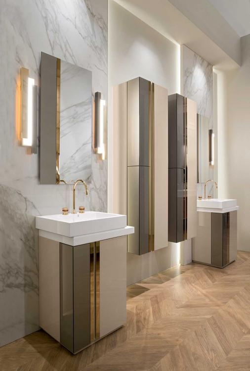 Oasis Luxury bathroom Charme collection. Charme Mirror. Charlotte taps. Charme wall lamp.