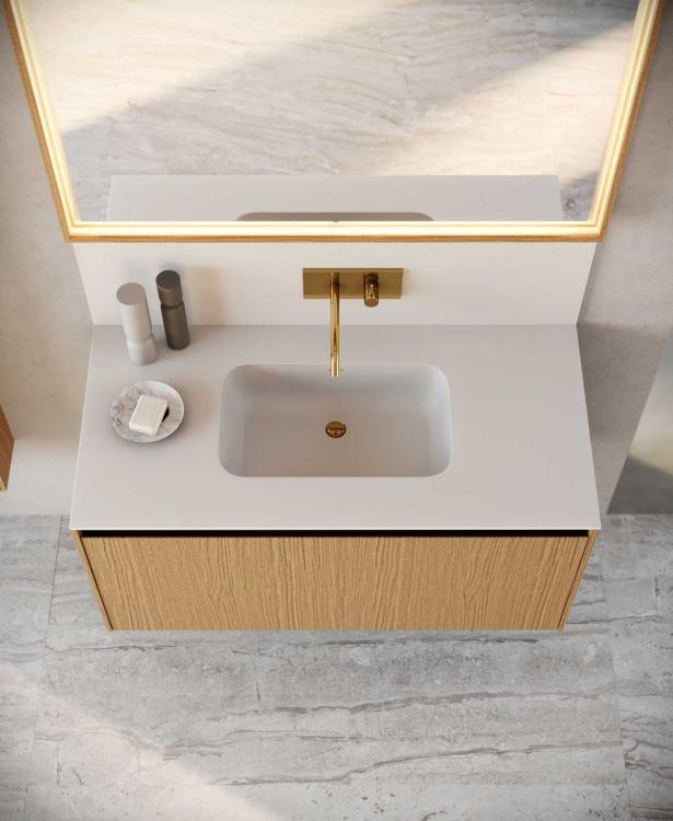 Eden vanity unit, Carved Oak, Purefeel washbasin and backsplash