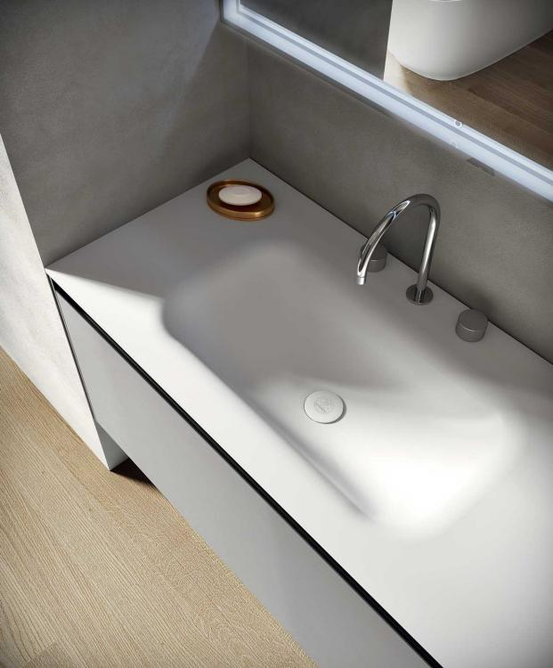 Eden vanity unit, Cemento finish, integrated Corian washbasin