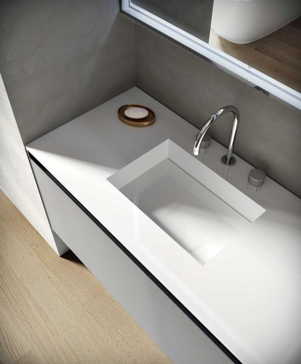 Eden vanity unit, Cemento finish, integrated Purefeel washbasin