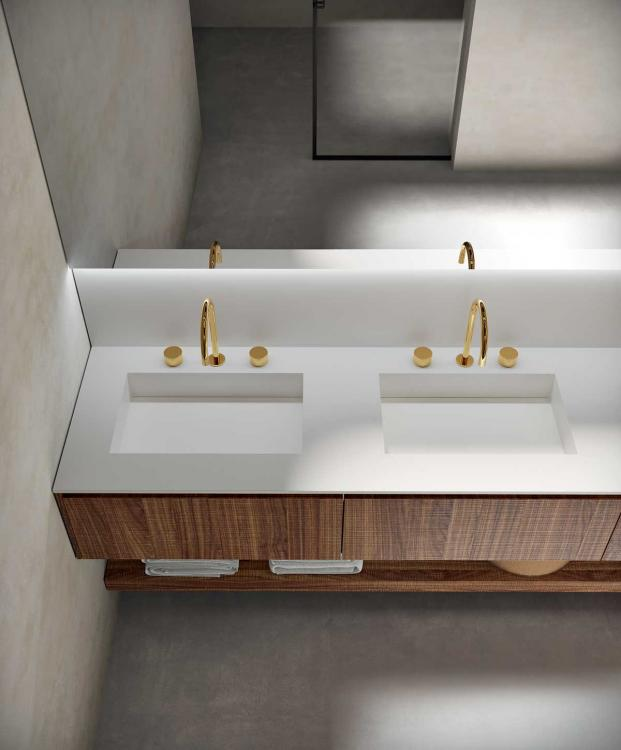 Eden vanity unit, Carved Walnut, Purefeel washbasin, Dalì Up & down mirror