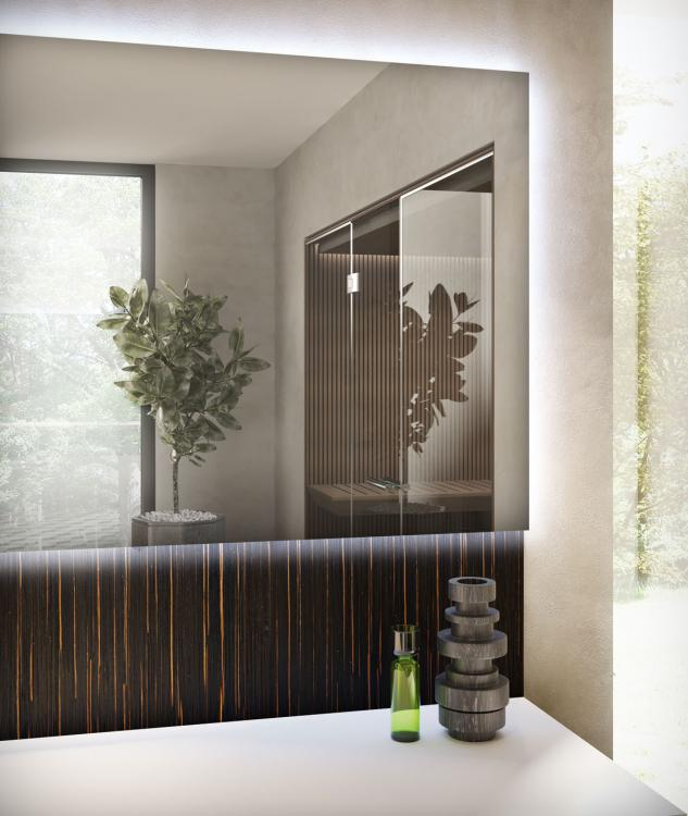 Eden vanity unit and backsplah, Ammara Ebony, Purefeel washbasin, Dalì Full mirror