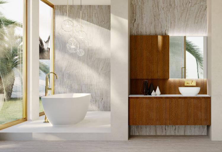 Eden vanity unit and wall unit, Sucupira, countertop washbasin, Dalì Up & down mirror