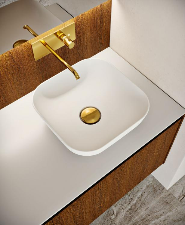 Eden vanity unit and backsplash, Sucupira, Purefeel top and countertop washbasin