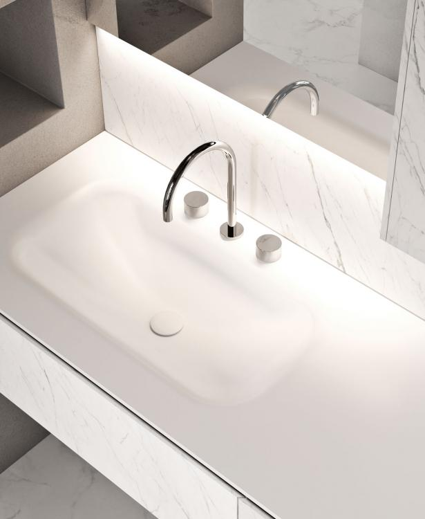 Eden vanity unit and wall unit, Statuarietto, integrated Corian washbasin