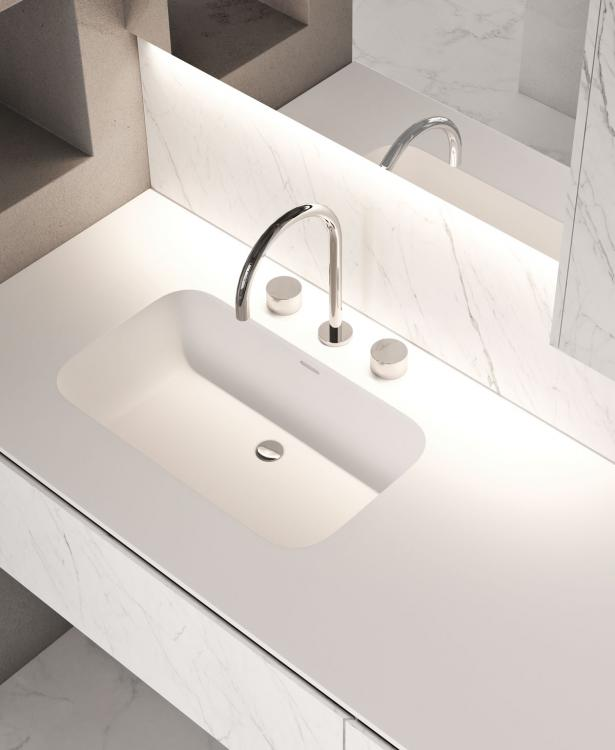Eden vanity unit and wall unit, Statuarietto, integrated Purefeel washbasin