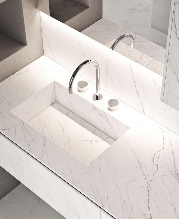 Eden vanity unit and wall unit, Statuarietto, integrated porcelain stone washbasin