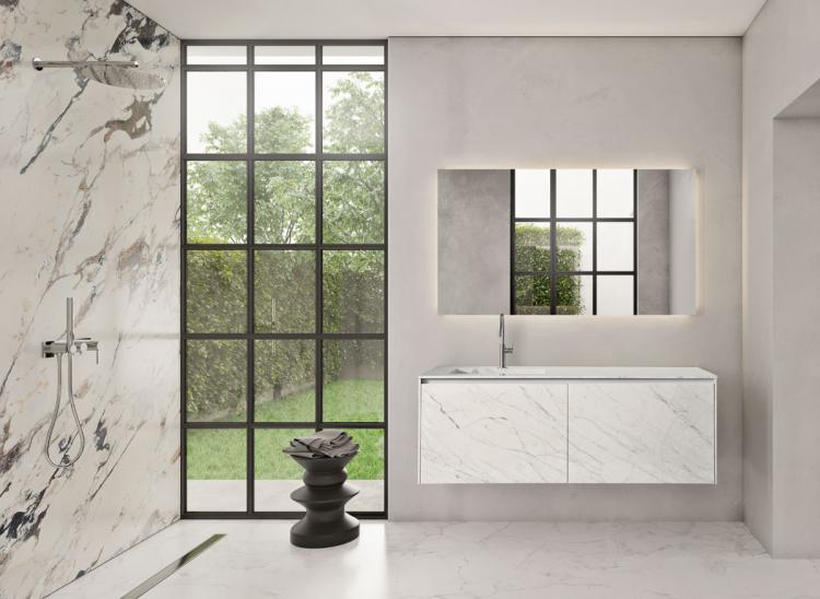 Eden vanity unit, Statuarietto, integrated porcelain stone washbasin, Dalì Up&Down mirror