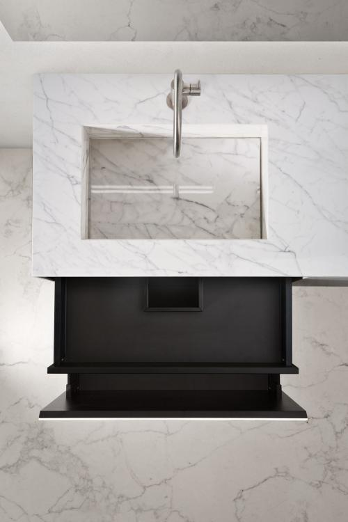 Eden vanity unit, Statuarietto, integrated porcelain stone washbasin, open drawers