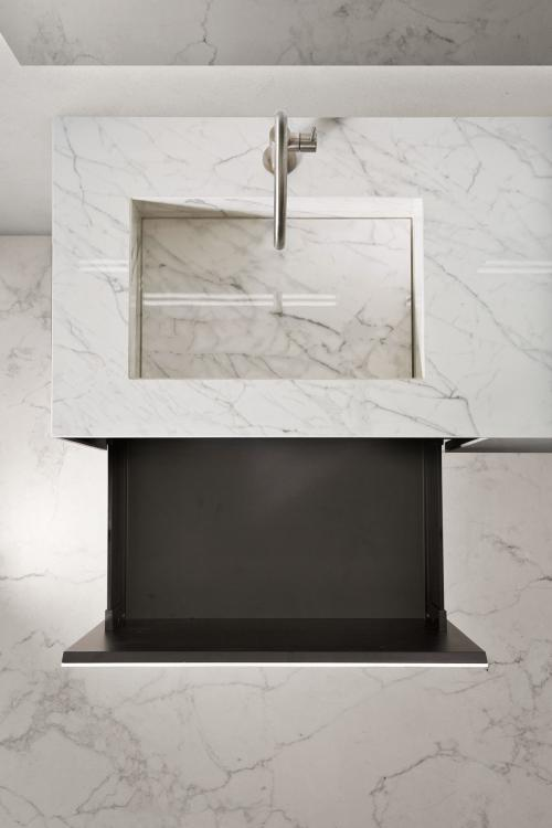 Eden vanity unit, Statuarietto, integrated porcelain stone washbasin