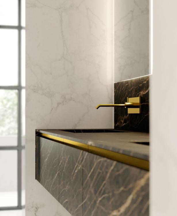 Eden vanity unit, Noir Desir, integrated porcelain stone washbasin, gold metal band