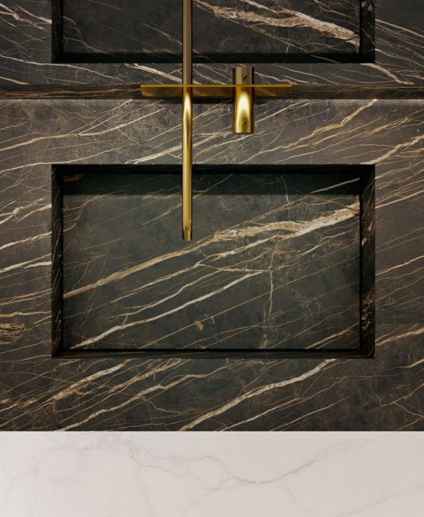 Eden vanity unit, Noir Desir, integrated porcelain stone washbasin