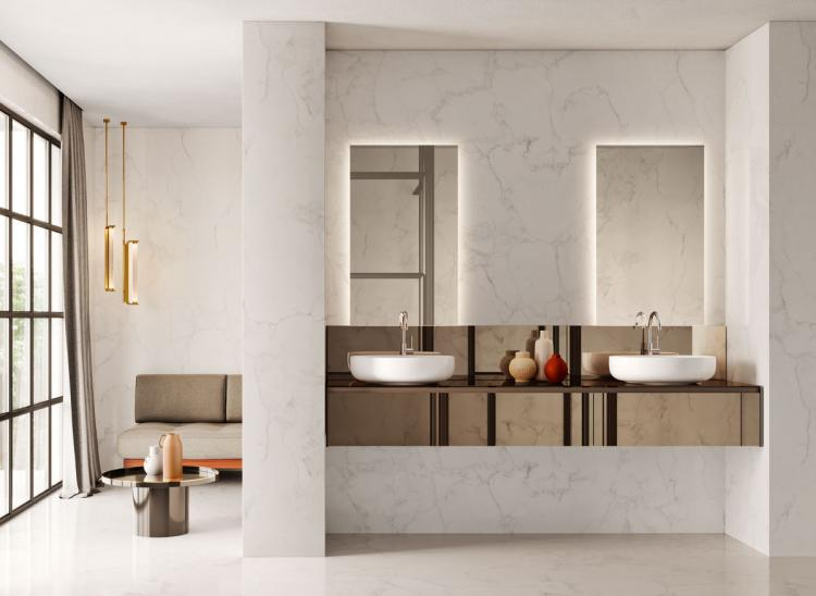 Eden vanity unit, bronze mirror, countertop washbasin, Dalì Full mirrors