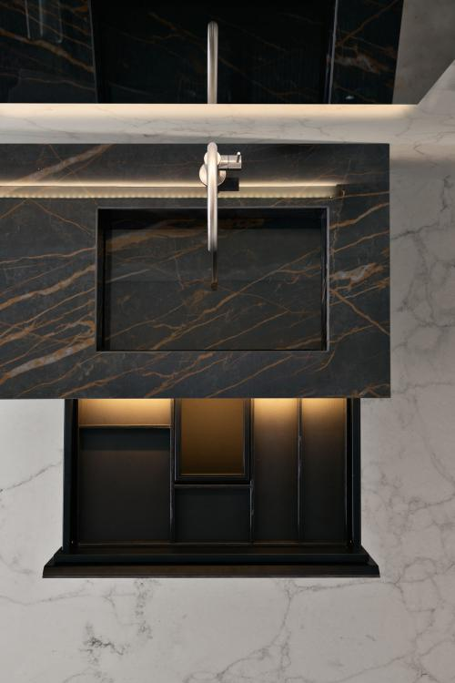 Eden vanity unit, Noir Desir, open drawer, LED lighting