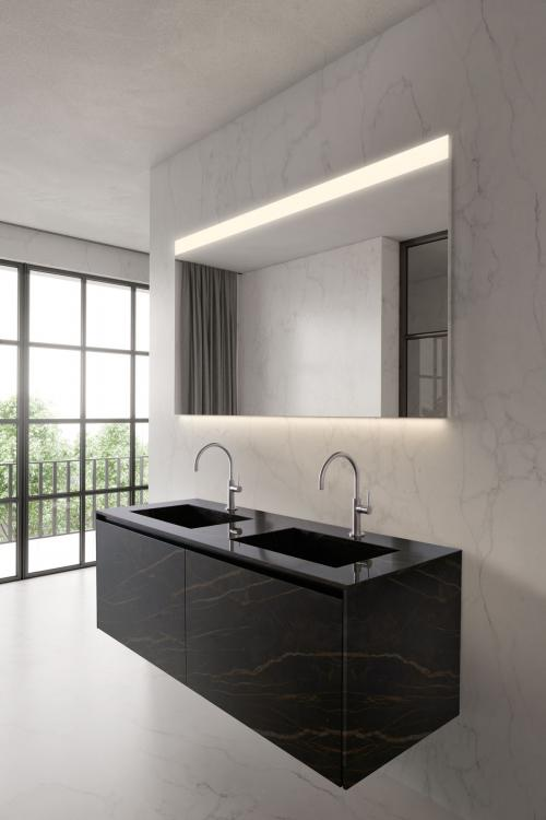 Eden vanity unit, Noir Desir, integrated porcelain stone washbasin, Vivian mirror