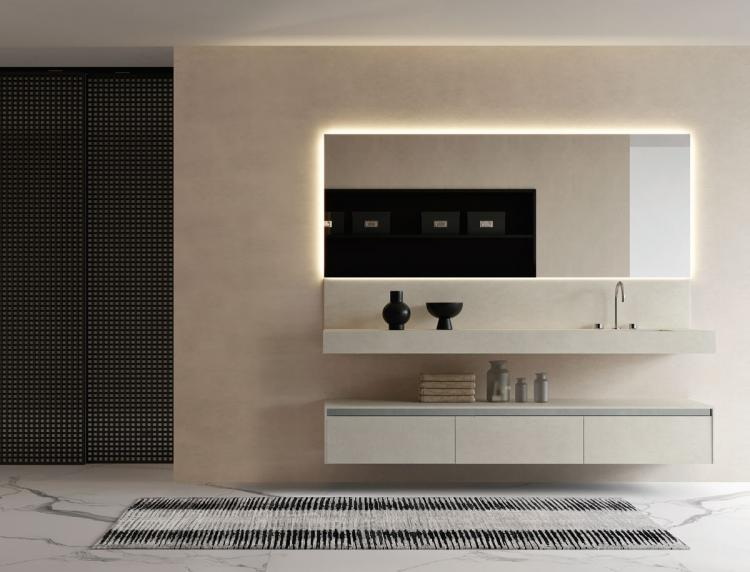 Eden base unit and backsplash, Sale, suspended washbasin, Dalì Full mirror