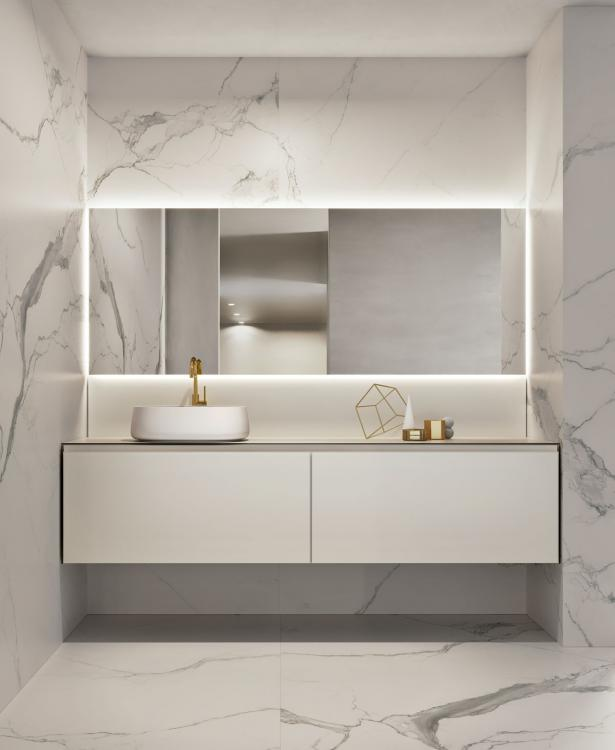 Eden vanity unit, Pearl glass, countertop washbasin, Dalì Full mirror