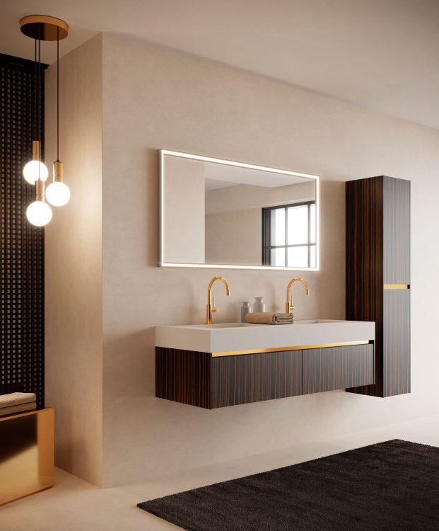 Eden vanity unit, Makassar, countertop Purefeel washbasin, My Sum mirror