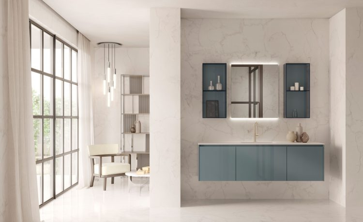 Eden vanity unit, Smoke finish, integrated top, Dalì Up&Down mirror