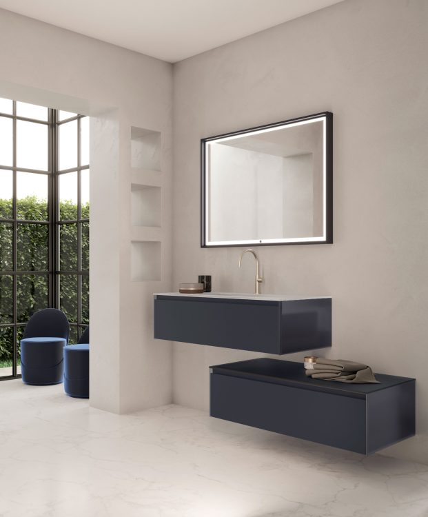 Eden vanity unit and base unit, Navy glass finish, integrated glass top, My Sun mirror