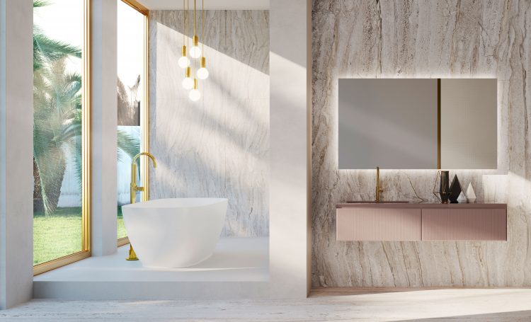 Eden vanity unit, Ribbed Bronze glass finish, integrated glass top, Dalì Full mirror