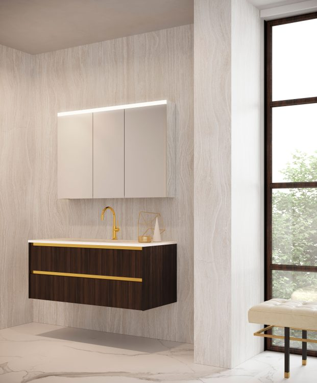 Eden vanity unit, Dark Mahogany, marble top, white ceramic washbasin, New Vittoria mirror