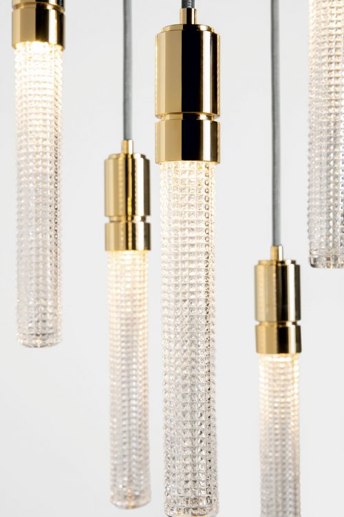 Ducale Flute Down - Suspended Lamp - 5 Units - Kube glass