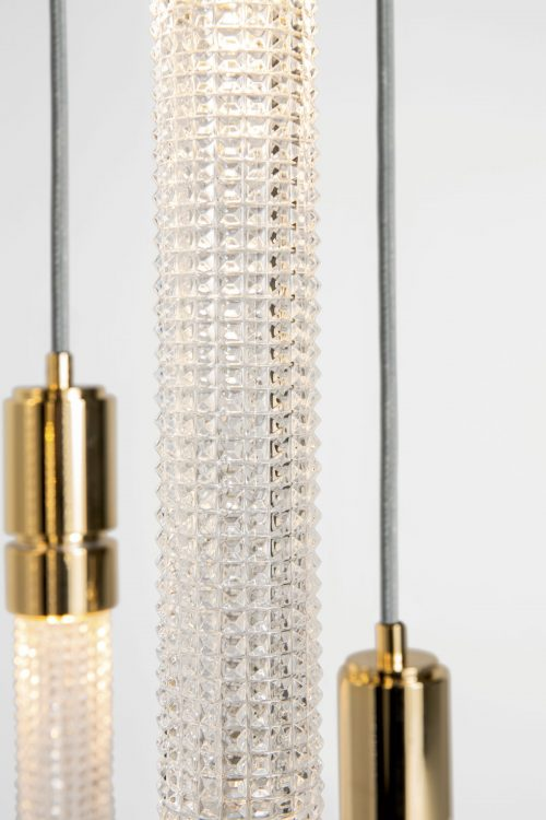Ducale Flute Down - Suspended Lamp - Triple Unit - Kube glass